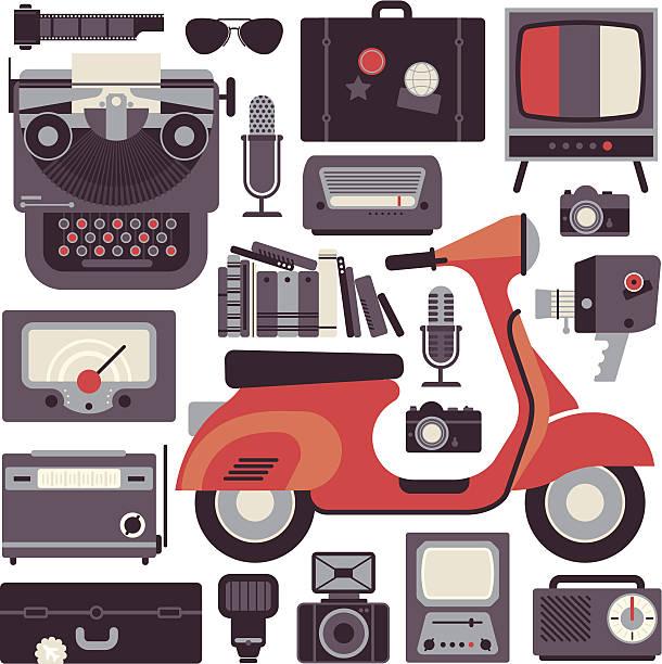 Vintage objects vector art illustration