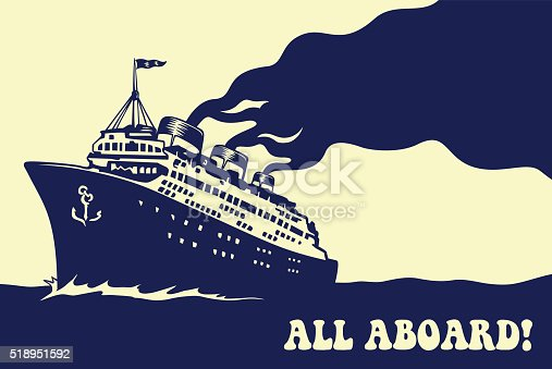 All aboard! Vintage steam transatlantic ocean cruise liner ship with smoke puff, retro traveling vector illustration