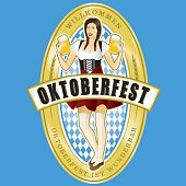 Vintage style Octoberfest Beer Label with beer maiden holding some frothy beers