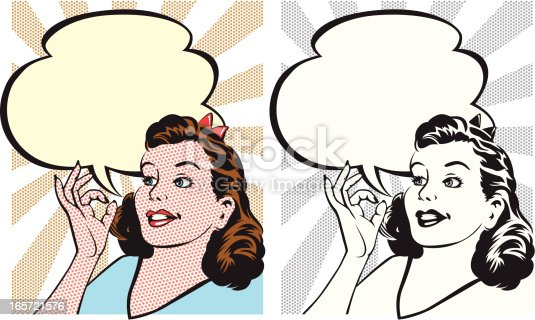 A retro illustration of a woman saying OK,