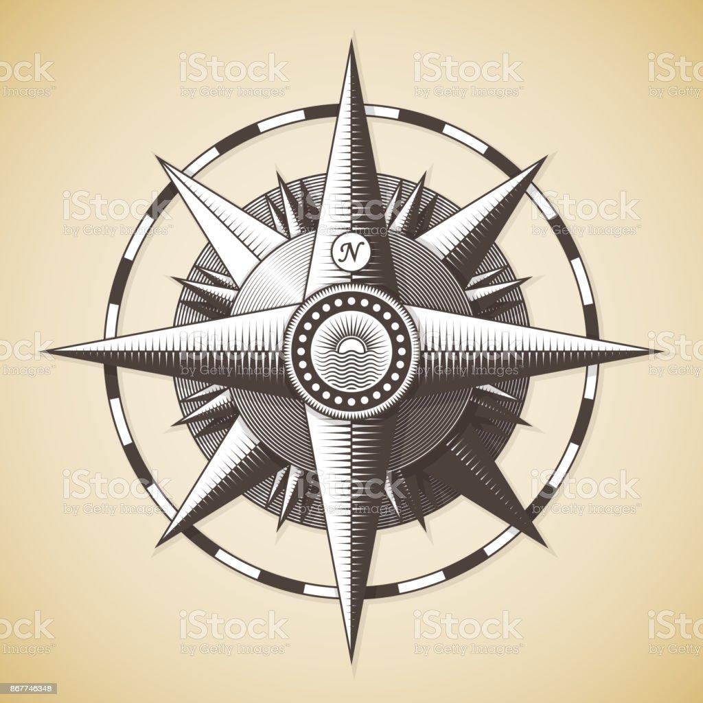 Vintage old antique nautical compass rose vector art illustration