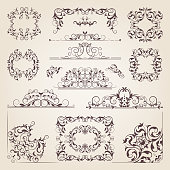 Vintage old banners, swirls, corners and different borders. Vector decorative frames. Design elements for your project. Sketch ornament vignette illustration, vintage elements for invitation decoration