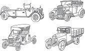 Vintage old cars. Retro cars 1910 - 1935. Doodles set. Vector illustration.