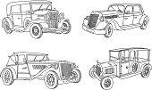 Vintage old cars. Retro cars 1915 - 1935. Doodles set. Vector illustration.