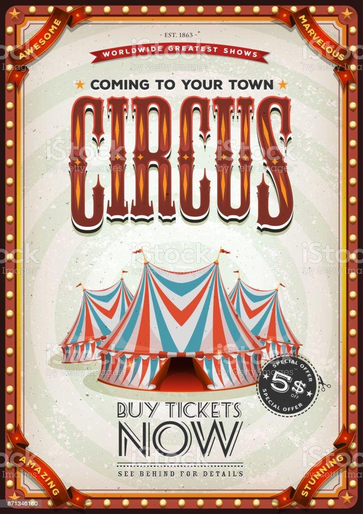 Vintage vieille affiche de cirque - Illustration vectorielle