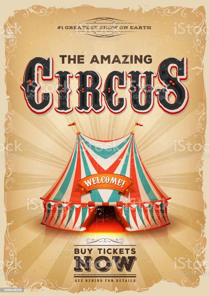 Vintage vieille affiche de cirque avec chapiteau rouge et bleu - Illustration vectorielle