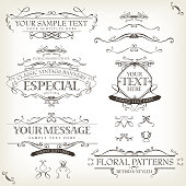 "Vector illustration of a set of retro labels, frames, sketched banners, floral patterns, ribbons, and graphic design elements on vintage old paper background. File is EPS10 and uses overlay transparency at 100% on gradient mesh clouds background creating ""leather texture"" effect. Vector eps and high resolution jpeg files included"