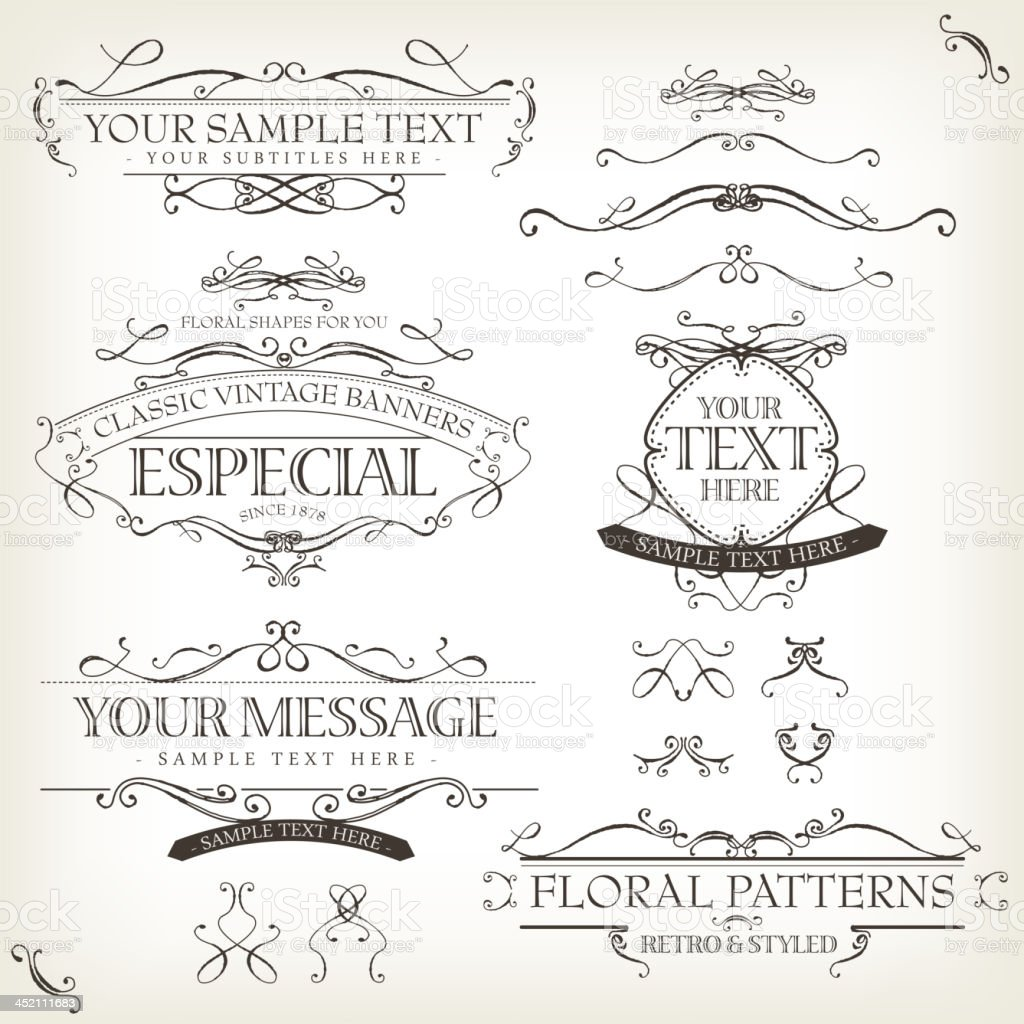 Vintage Old Labels Banners And Frame vector art illustration