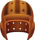 Vintage, old leather american football helmet