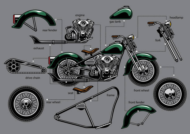 vintage old motorcycle with separated parts - motorcycle stock illustrations, clip art, cartoons, & icons