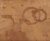 Vintage old paper texture background, scrapbooking craft page as vector illustration, parchment with coffee cup stains.