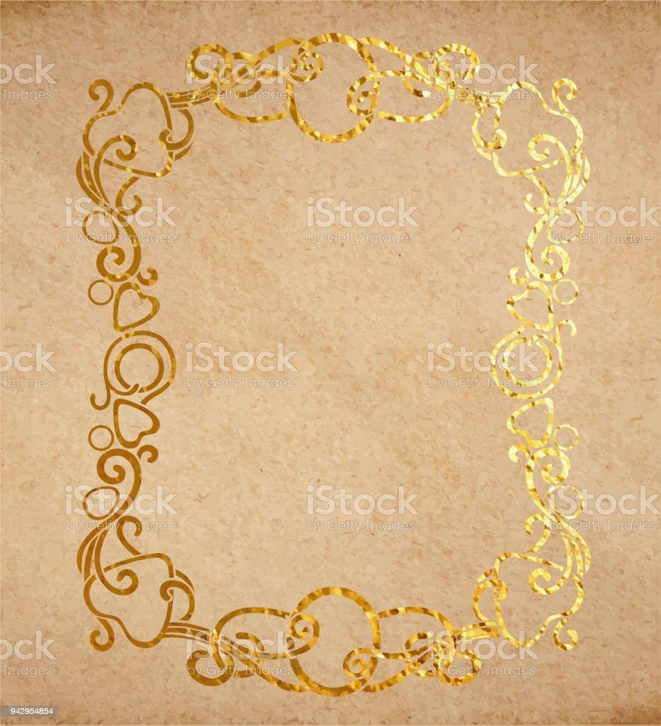 Vintage Eski Kağıt Dokusu Ile Altın Mürekkep Dekoratif Süslü çerçeve