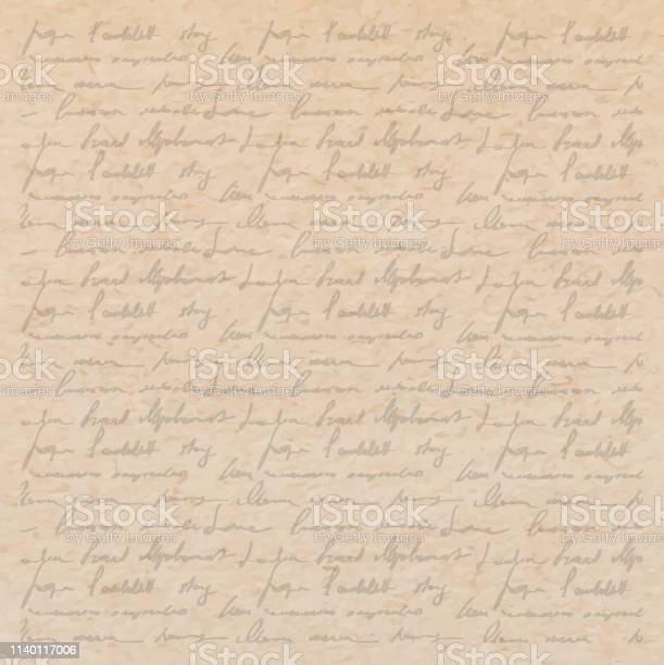 Vintage Old Paper Texture With Handwriting Letter Stock Illustration - Download Image Now