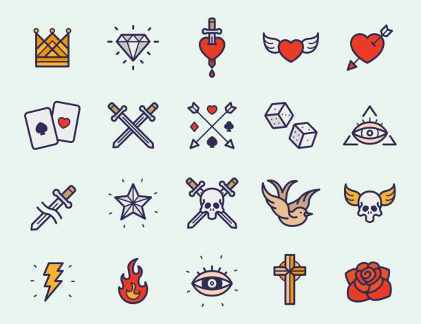 vintage oldschool tattoo minimal flache linie schlaganfall symbol piktogramm symbol abbildung set farbkollektion - dolch tattoos stock-grafiken, -clipart, -cartoons und -symbole