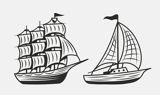 Vintage Old Ship and Boat or Yacht isolated on white background. Sailboat, Sailing ship icons. Elements for nautical logo, poster, banner template. Vector illustration