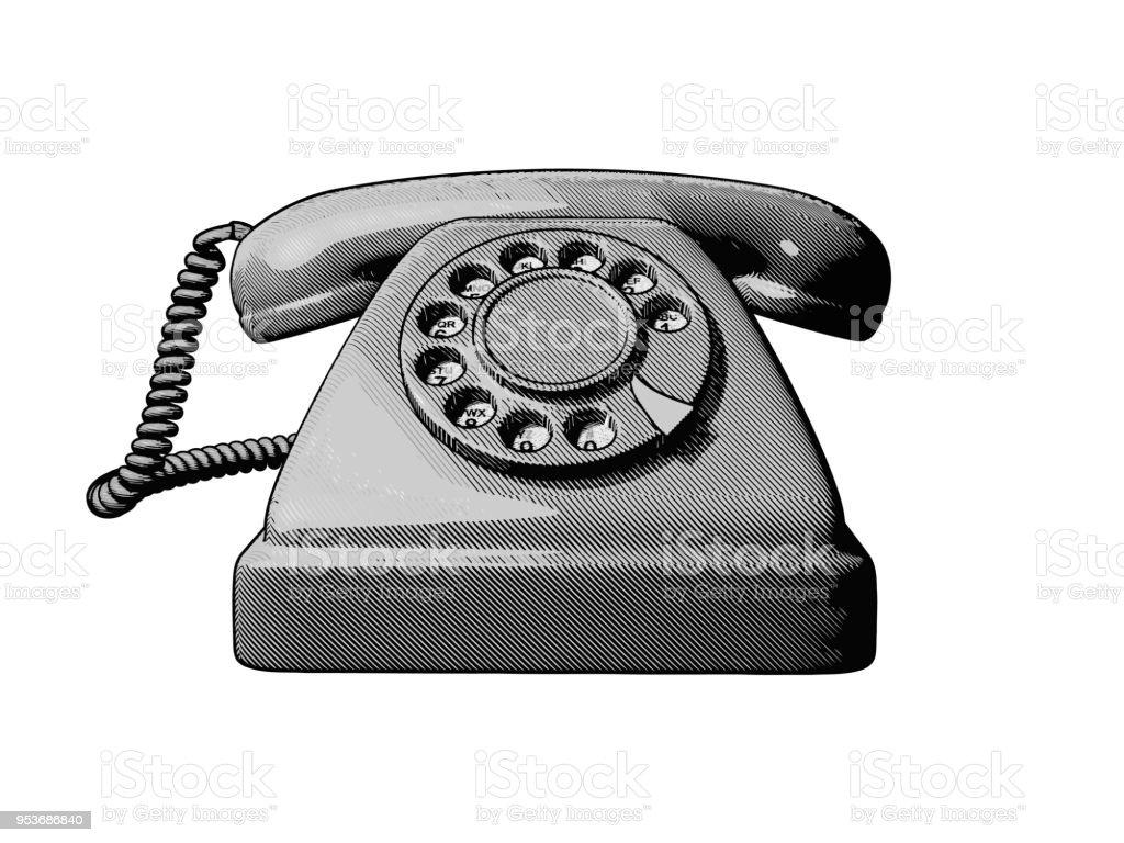 Vintage Old Telephone Illuatration Isolated On Wihte BG Royalty Free