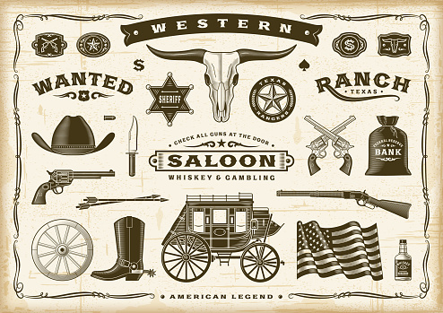 A set of vintage old western elements in woodcut style. Editable EPS10 vector illustration with transparency. Used gradient mesh.