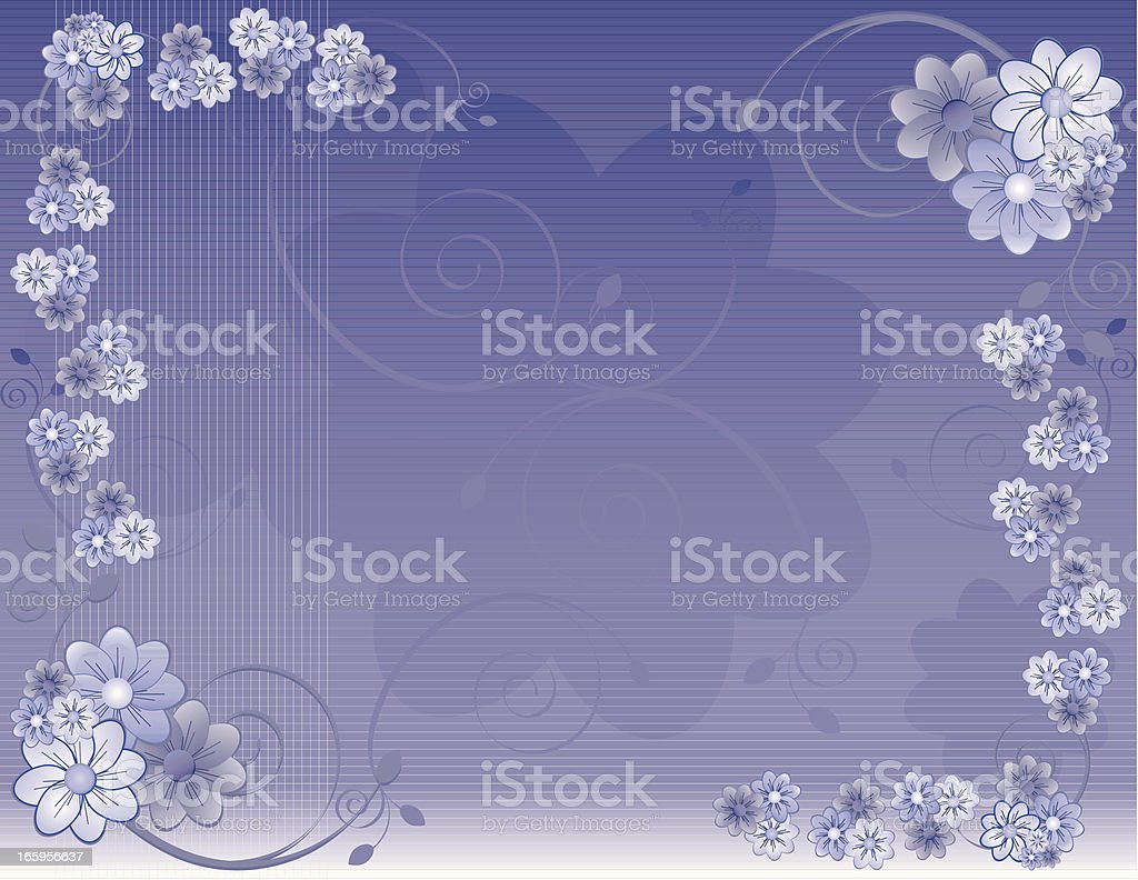 Vintage, Old-Fashioned Daisies Background Design in Pastels, Lavender royalty-free stock vector art