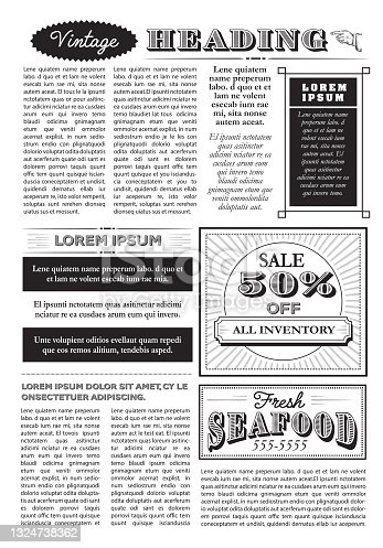 Vintage or old fashioned  Newspaper layout includes page with headline design template on white background