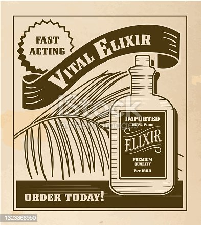 istock Vintage or old fashioned worn Newspaper advertisement featuring Elixir bottle 1323366950
