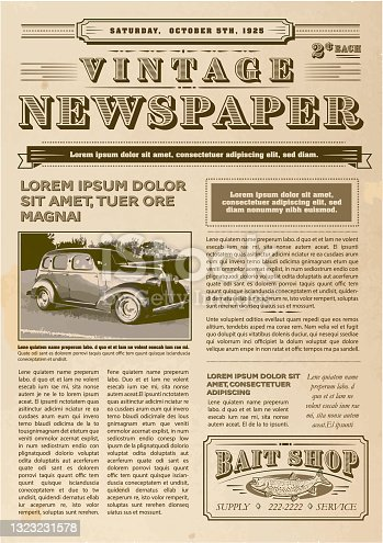 Vintage or old fashioned worn Newspaper layout includes front page with headline design template