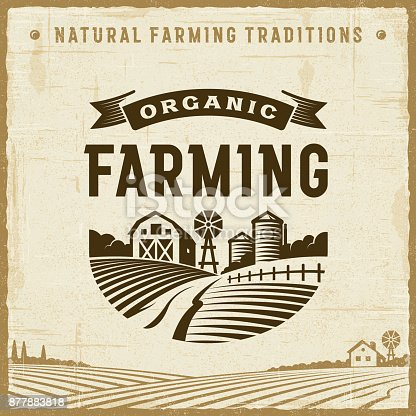 Vintage organic farming label in retro woodcut style. Editable EPS10 vector illustration with clipping mask and transparency.