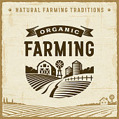 Vintage Organic Farming Label