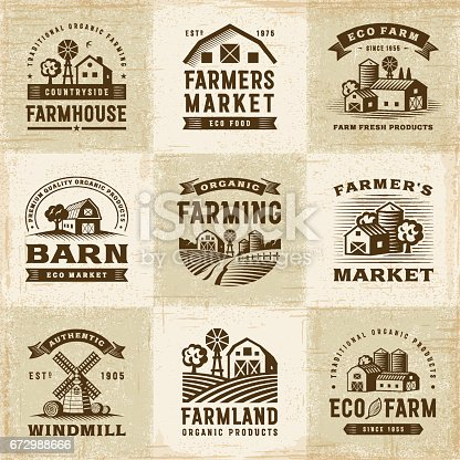 A set of vintage organic farming labels in woodcut style. Editable EPS10 vector illustration with clipping mask.