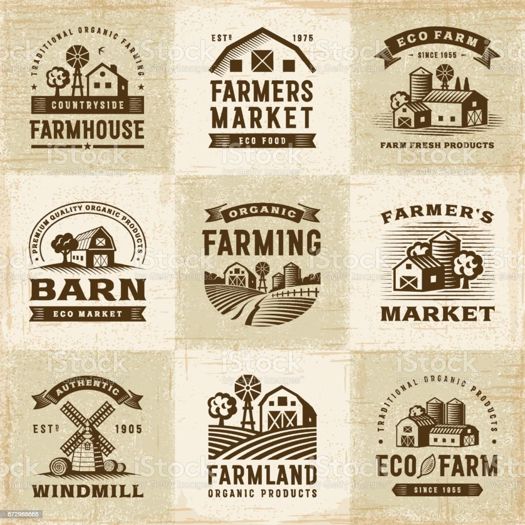 Vintage Organic Farming Labels Set - illustrazione arte vettoriale