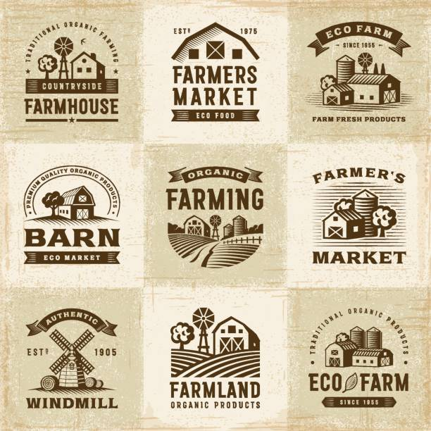 Vintage Organic Farming Labels Set A set of vintage organic farming labels in woodcut style. Editable EPS10 vector illustration with clipping mask. farmer's market stock illustrations