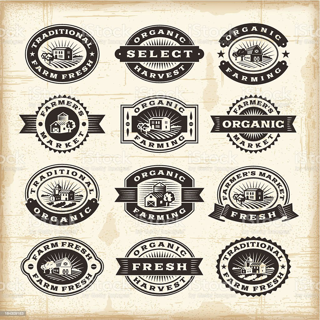 Vintage organic farming stamps set vector art illustration