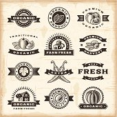 A set of of fully editable vintage organic harvest stamps in woodcut style. EPS10 vector illustration. Includes high resolution JPG.