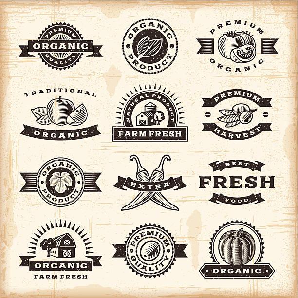stockillustraties, clipart, cartoons en iconen met vintage organic harvest stamps set - houtgravure