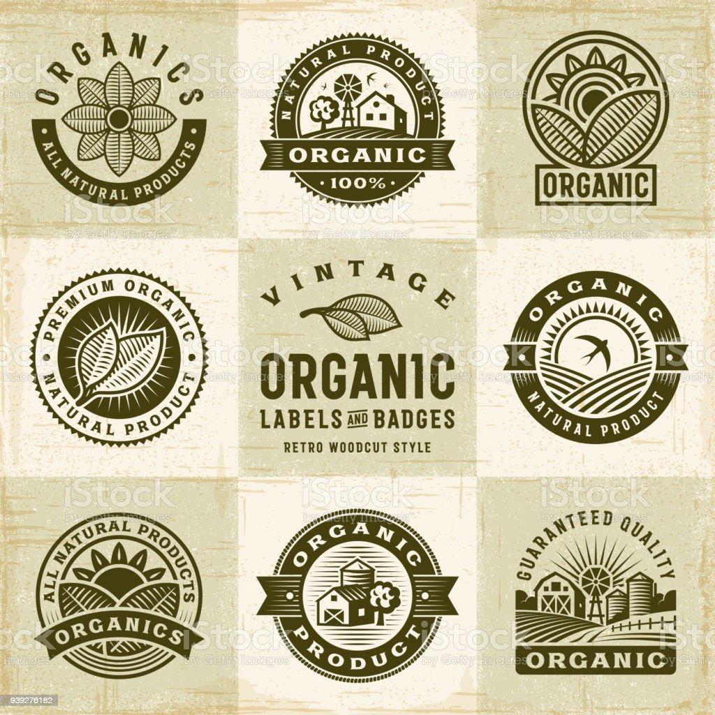Vintage Organic Labels And Badges Set vector art illustration