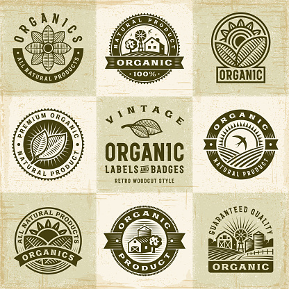 Vintage Organic Labels And Badges Set — стоковая векторная графика и другие изображения на тему Амбар