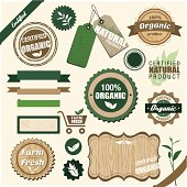 Vintage organic labels, badges and tags, each smartly grouped.