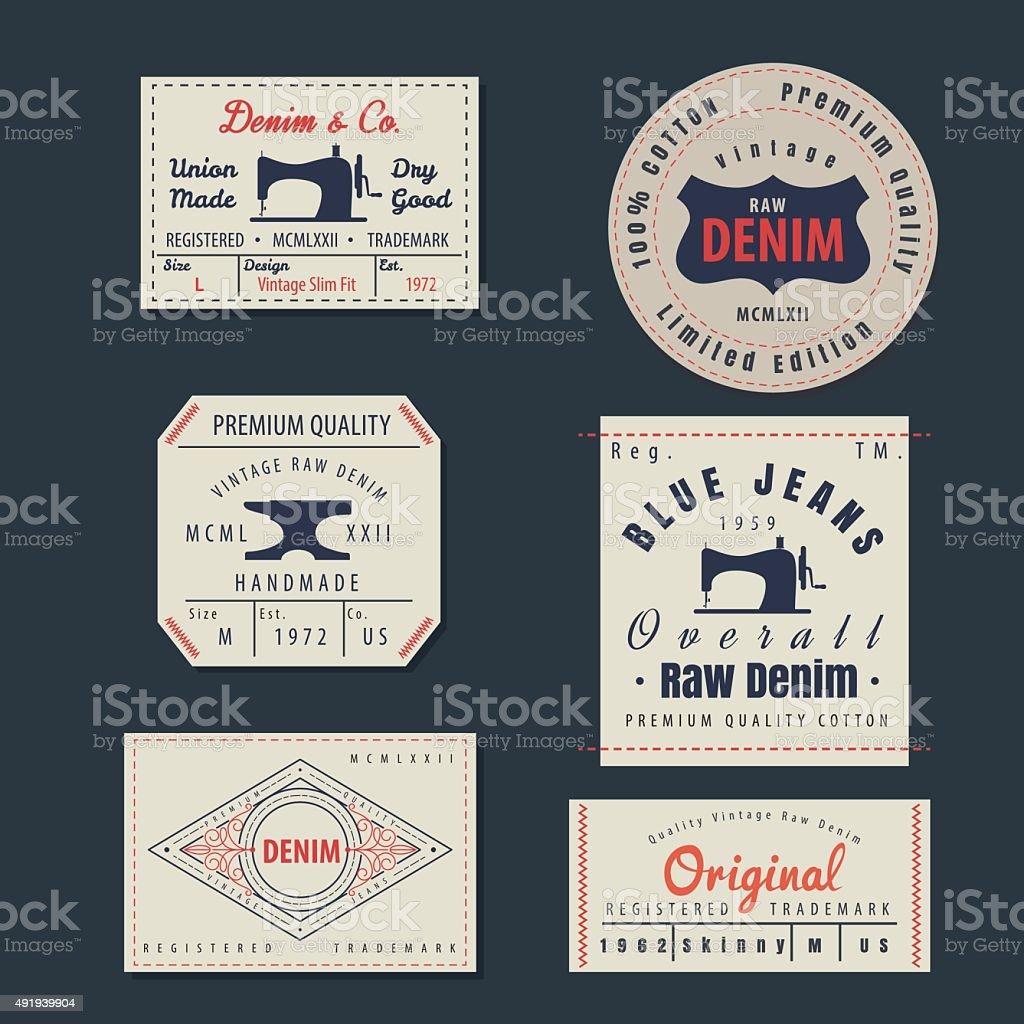 vintage original blue jeans raw denim labels,genuine exclusive b vector art illustration