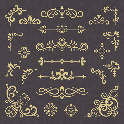 Vintage ornament. Borders dividers ornate victorian style floral wedding cornice vector typography set