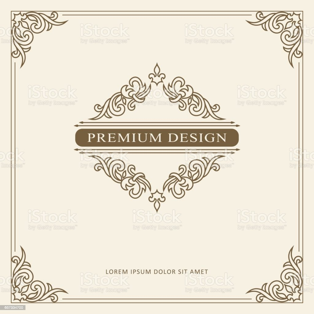 vintage ornament greeting card vector template retro luxury