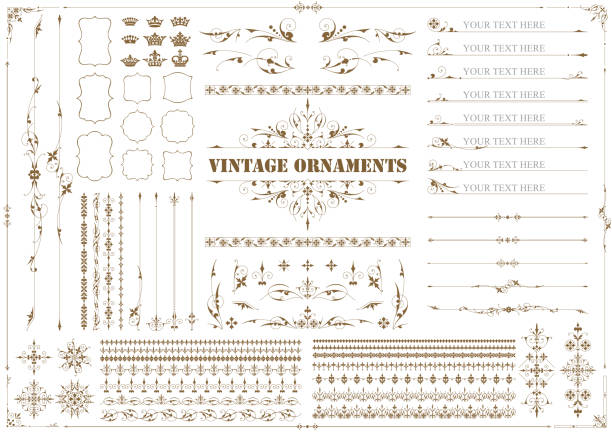 bildbanksillustrationer, clip art samt tecknat material och ikoner med vintage ornament set 03 - christmas decoration