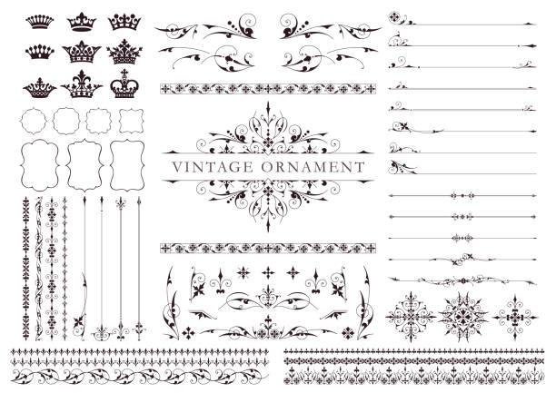 ヴィンテージオーナメントセット - クリスマスの飾り点のイラスト素材/クリップアート素材/マンガ素材/アイコン素材