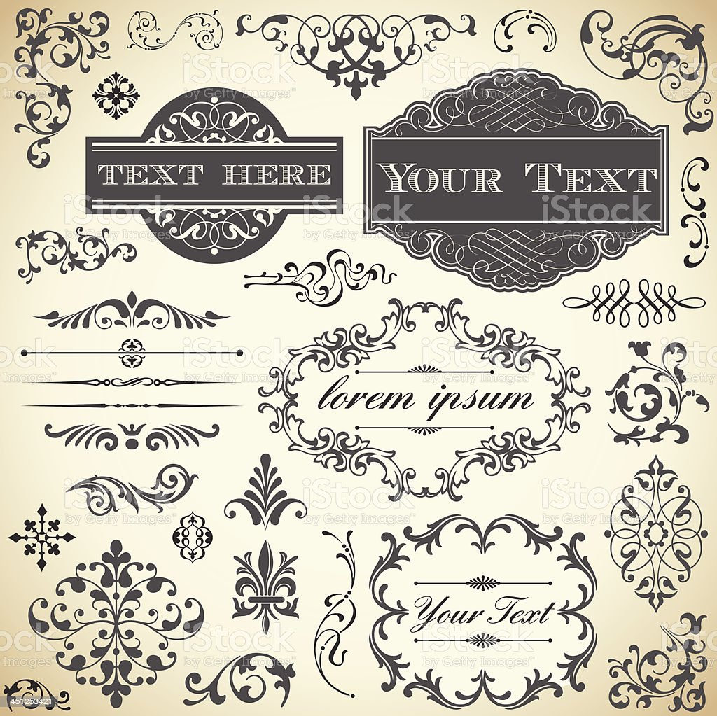 Vintage Ornament Set vector art illustration