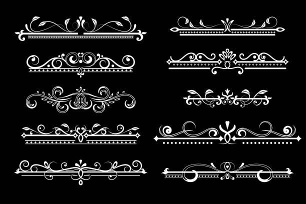 復古裝飾分界器。黑色背景上的白色排版裝飾向量藝術插圖