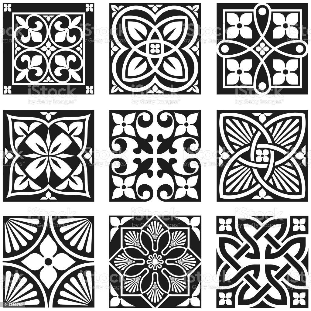 Ilustración de Patrones Ornamentales Vintage En Blanco Y Negro y más ...