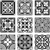 Vintage Ornamental Patterns in Black and White.