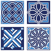 Vintage ornamental patterns in tones of blue