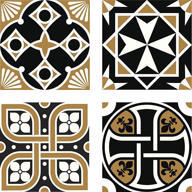 Vintage Ornamental Patterns Vector Vintage Ornamental Patterns maltese cross stock illustrations