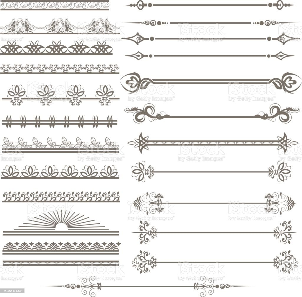 Vintage ornaments and page decoration set vector art illustration