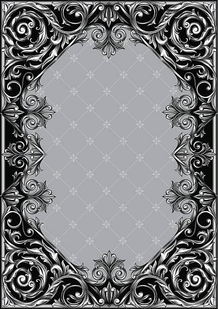 Vintage ornate blank Decorative rectangle frame, vector artwork gothic style stock illustrations
