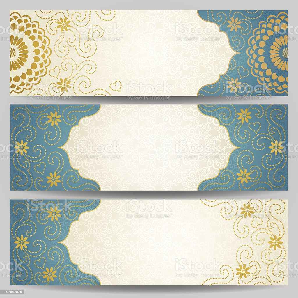 Vintage ornate cards with flowers and curls. vector art illustration